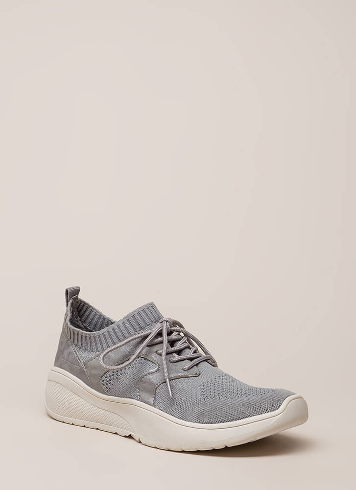 Run This Town Knit Platform Sneakers GREY