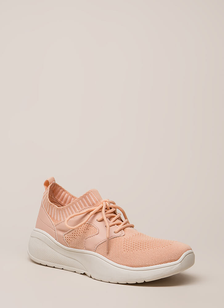 Run This Town Knit Platform Sneakers PINK