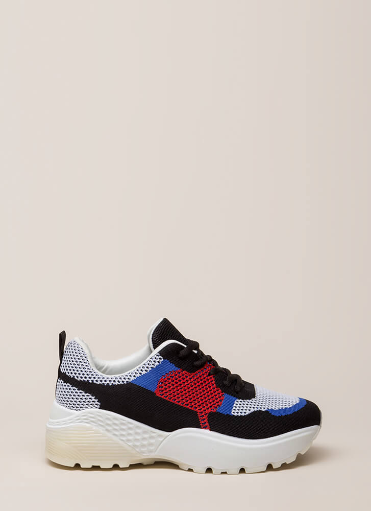 Block Party Mesh Knit Platform Sneakers BLACK
