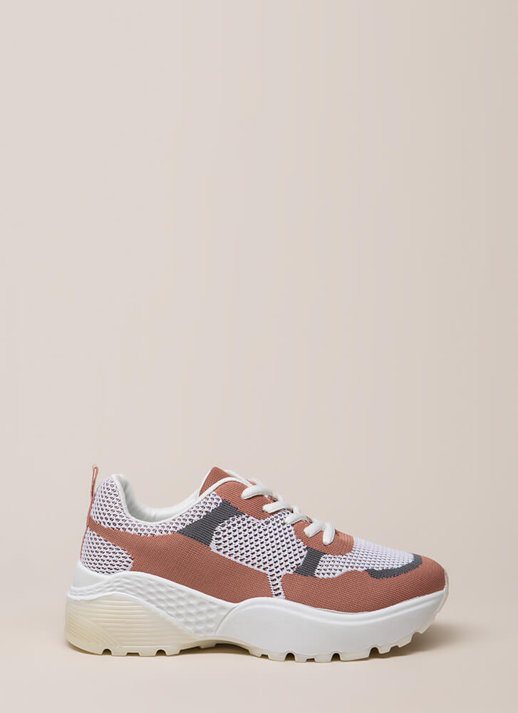 Block Party Mesh Knit Platform Sneakers MAUVE
