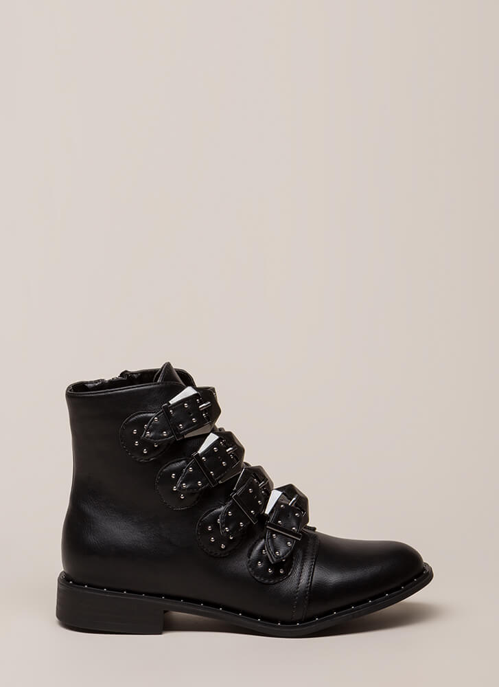 Studs 4 You Faux Leather Combat Boots BLACK