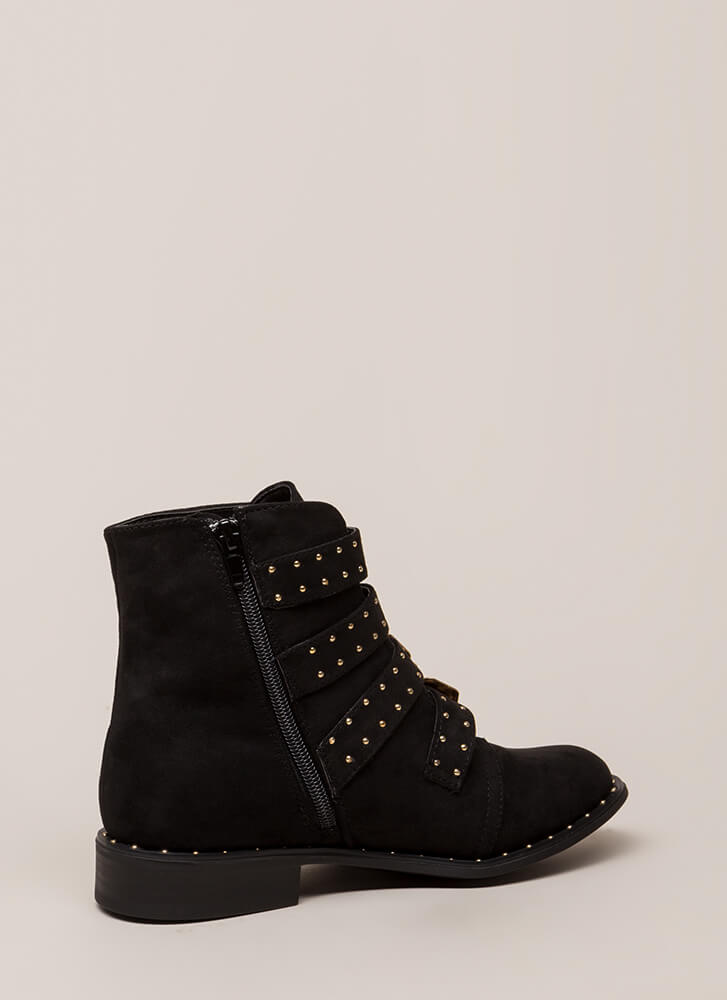 Studs 4 You Faux Suede Combat Boots BLACK (Final Sale)