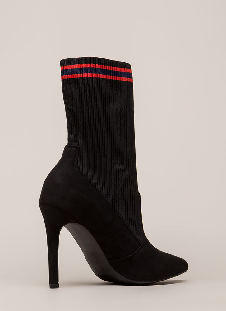 Sporty Chic Pointy Striped Sock Booties BLACK (You Saved $28)