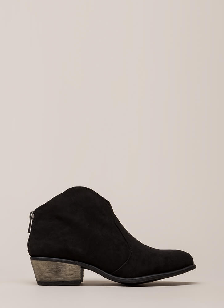 Cowgirl Roundup Faux Suede Booties BLACK