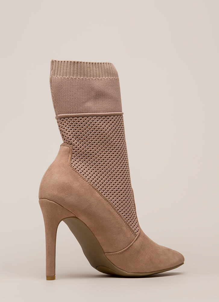 Sock 'N Roll Pointy Mesh Knit Booties DKBLUSH