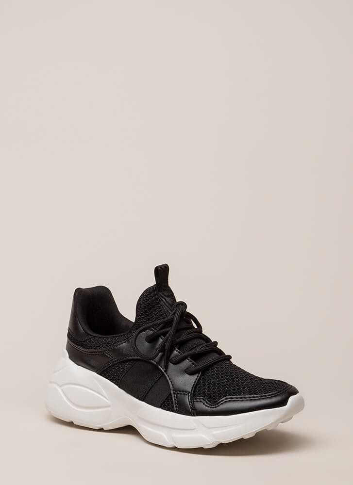 Perform Waffle Knit Platform Sneakers BLACK