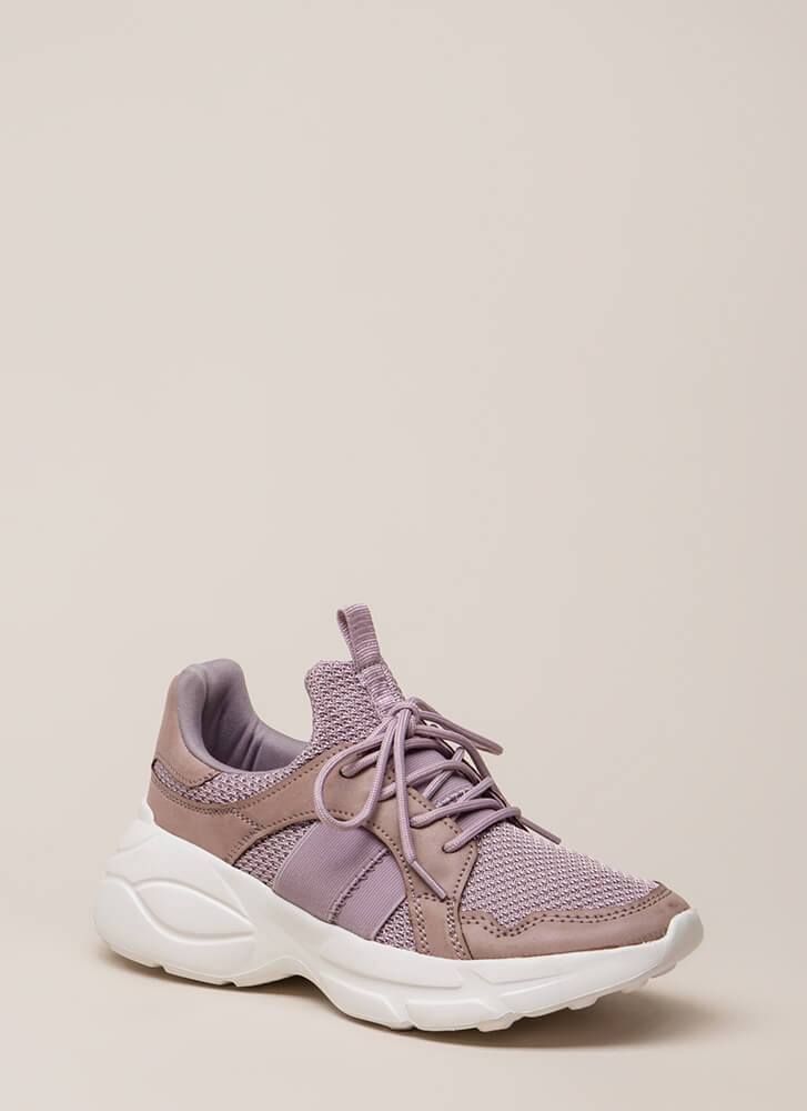 Perform Waffle Knit Platform Sneakers DKLILAC