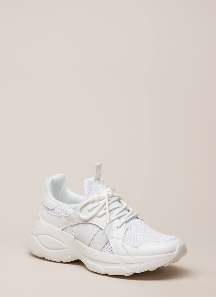 Perform Waffle Knit Platform Sneakers WHITE