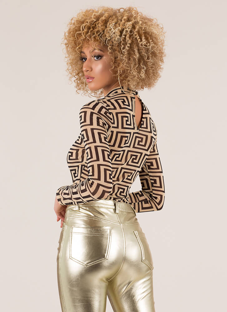 Get Me To The Greek Key Mesh Bodysuit TAUPE