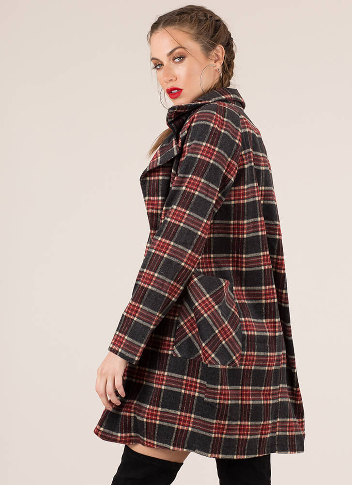 Perfect Weather Plaid Flannel Coat BURGUNDY