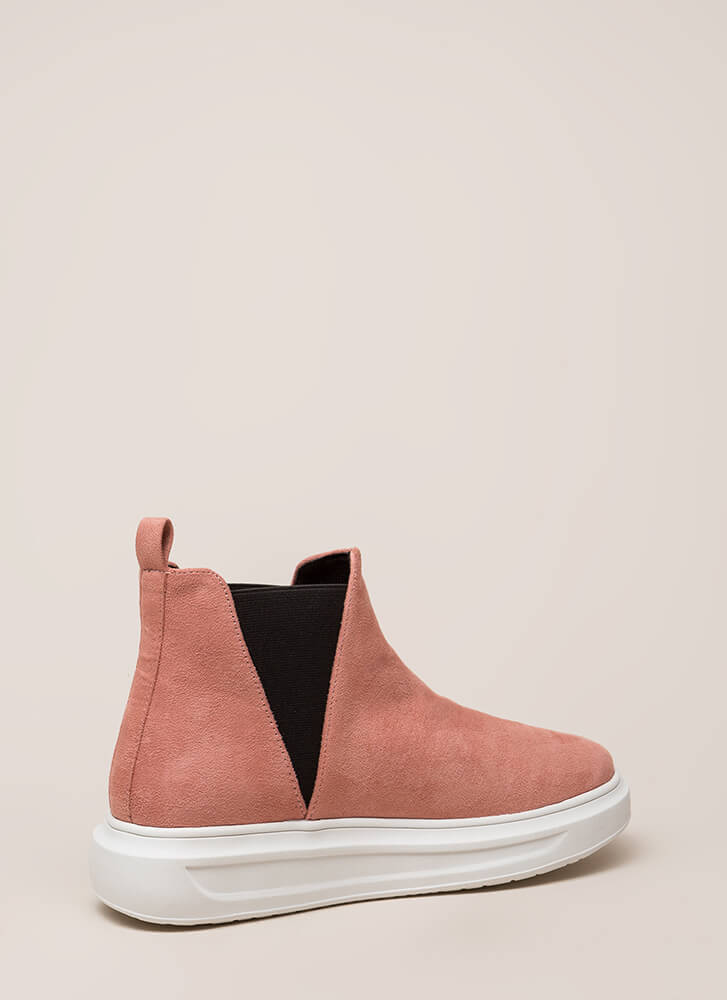 High There Faux Suede Platform Sneakers MAUVE
