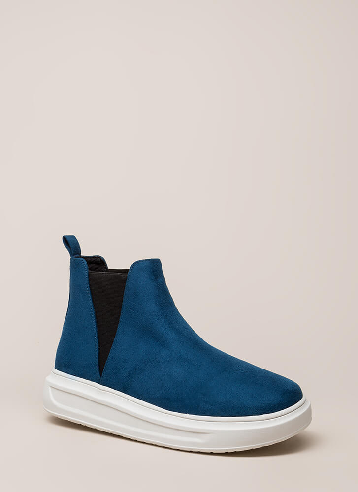 High There Faux Suede Platform Sneakers TEAL
