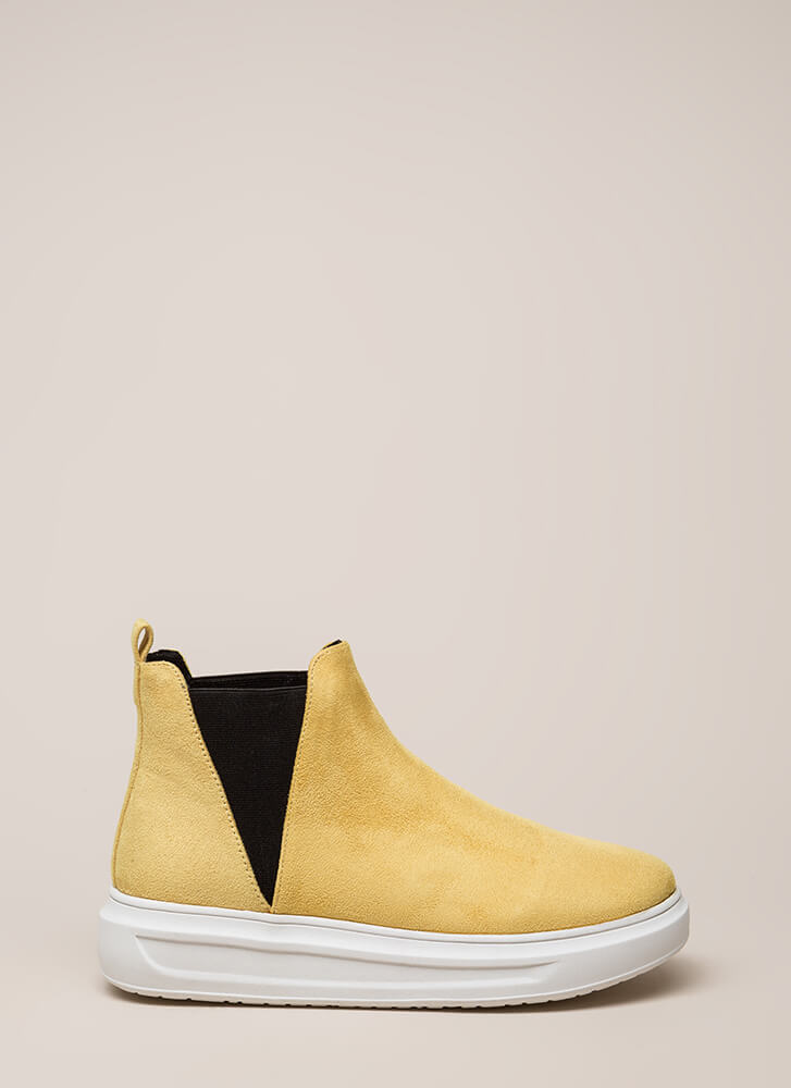 High There Faux Suede Platform Sneakers YELLOW