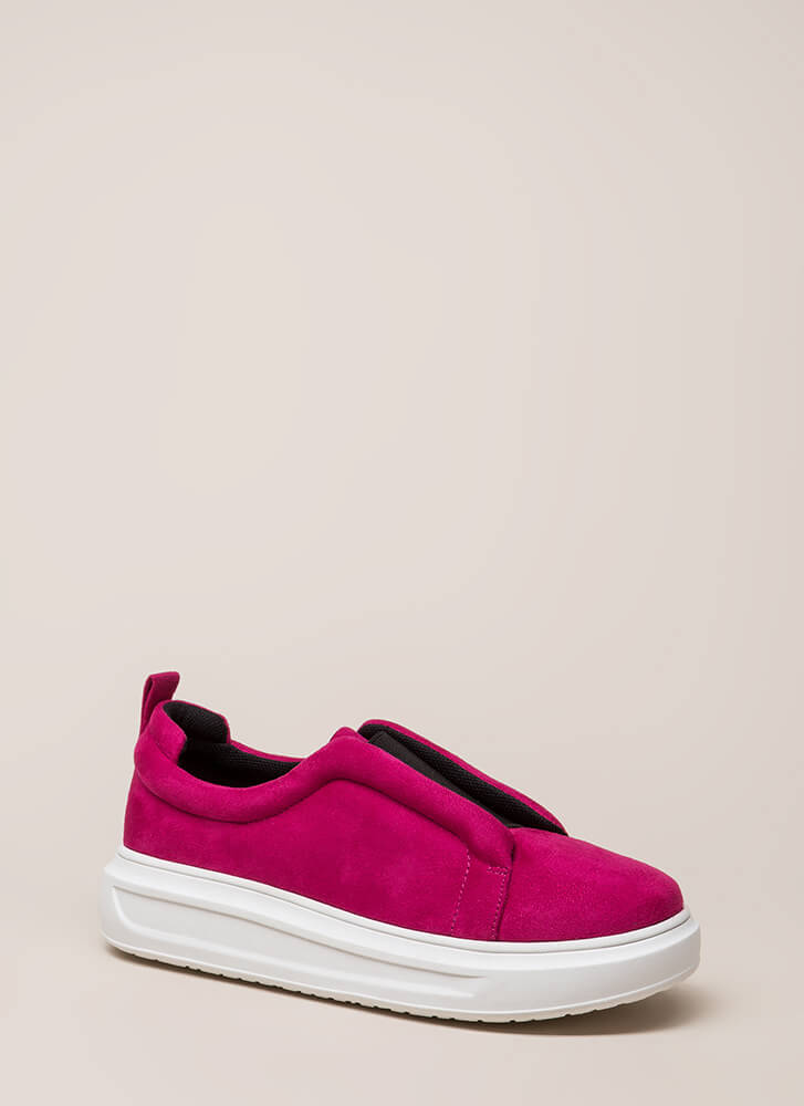 Can't Be Suede Slip-On Platform Sneakers FUCHSIA