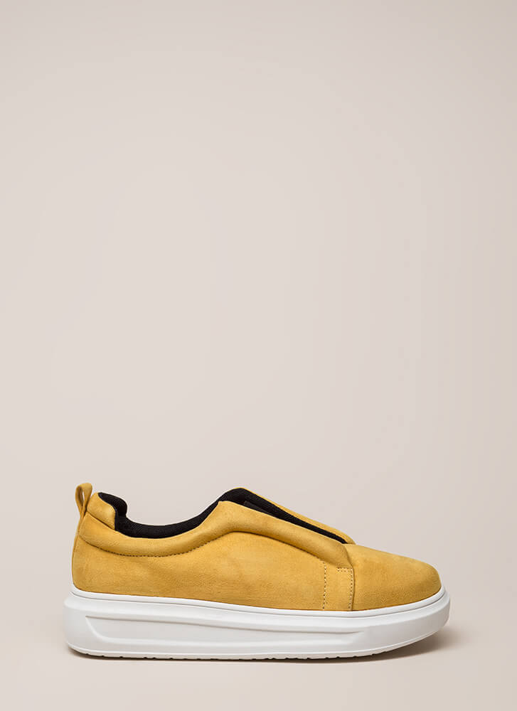 Can't Be Suede Slip-On Platform Sneakers MUSTARD