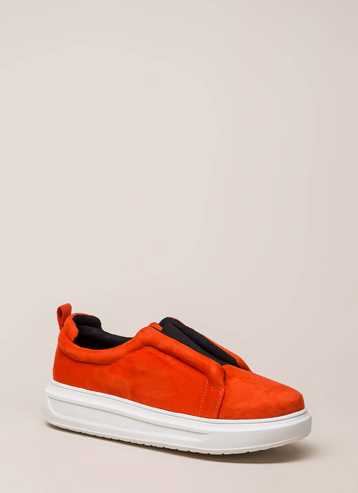 Can't Be Suede Slip-On Platform Sneakers ORANGE (You Saved $23)