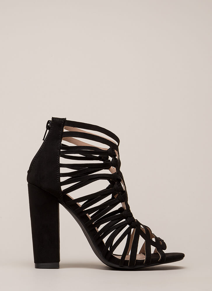 Knotty List Strappy Caged Chunky Heels BLACK