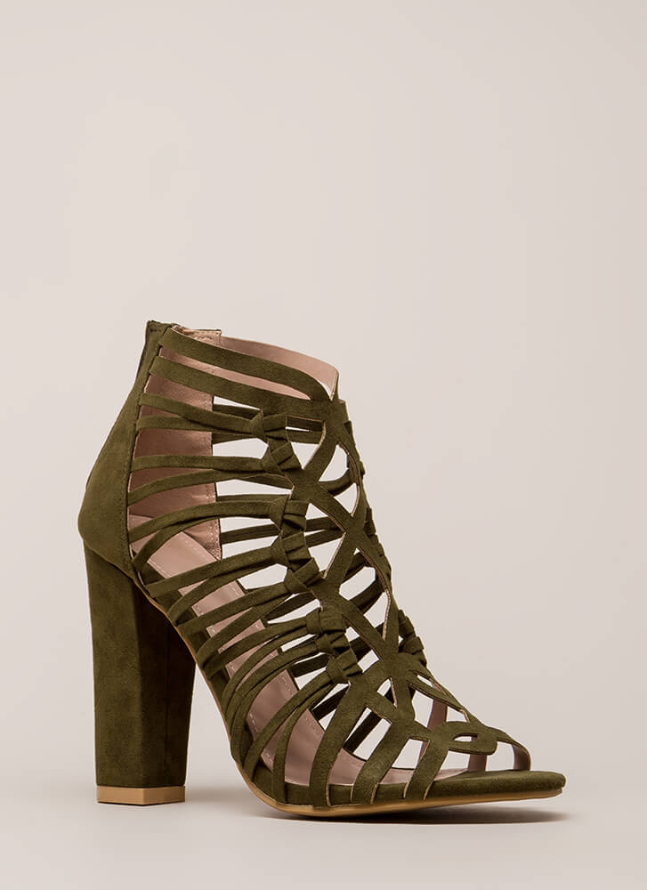 Knotty List Strappy Caged Chunky Heels OLIVE