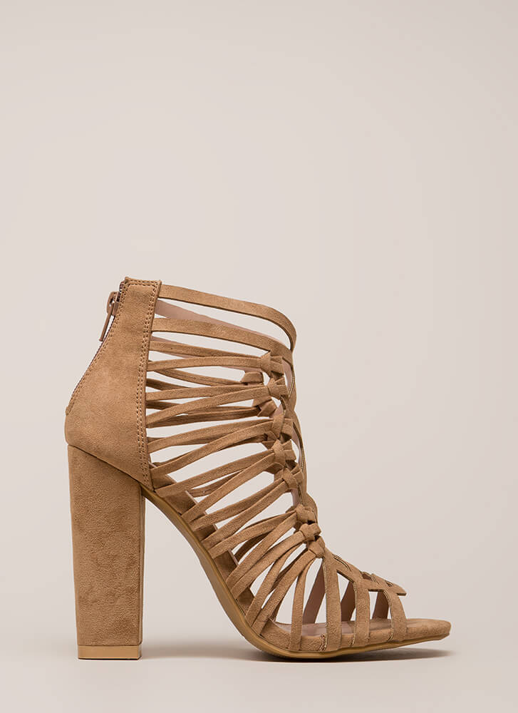 Knotty List Strappy Caged Chunky Heels TAUPE