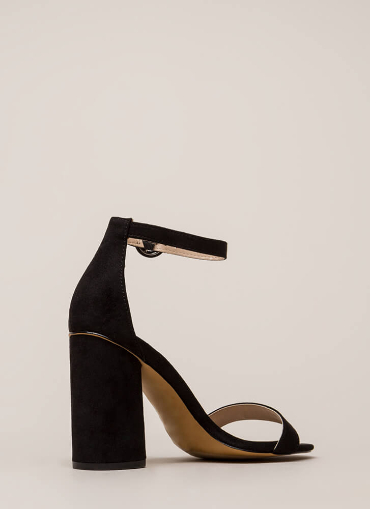 One Fine Day Chunky Ankle Strap Heels BLACK