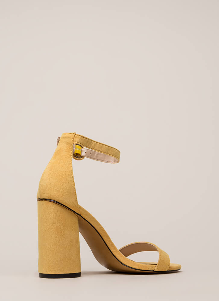 One Fine Day Chunky Ankle Strap Heels MUSTARD