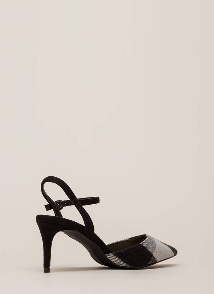 Rush To Print Pointy Patterned Heels BLACK