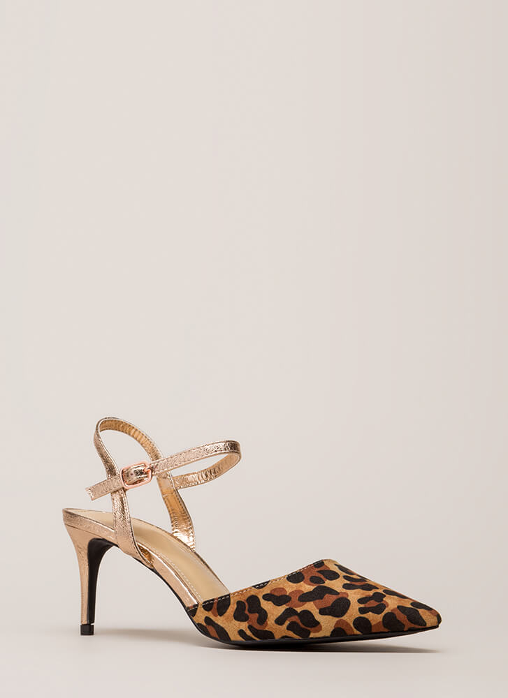 Rush To Print Pointy Patterned Heels LEOPARD