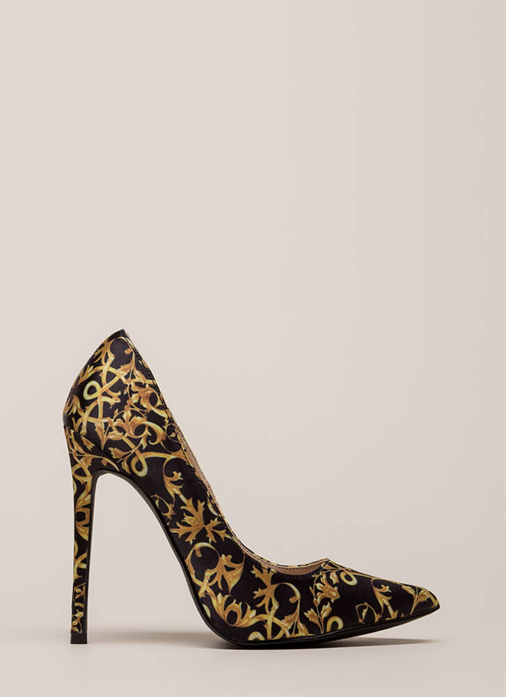 Rock 'N Scroll Pointy Baroque Pumps GOLD