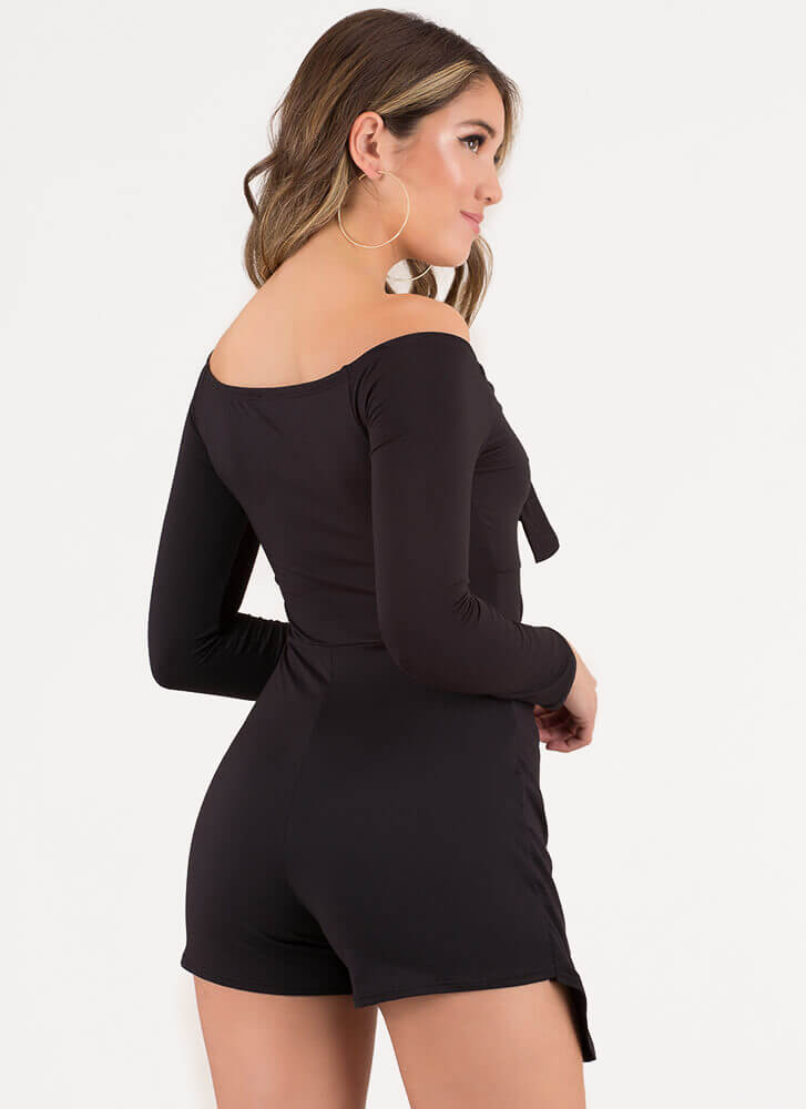 Knot Today Cut-Out Off-Shoulder Romper BLACK