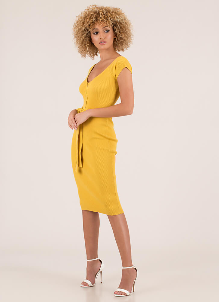 Home Button Tied Rib Knit Dress YELLOW