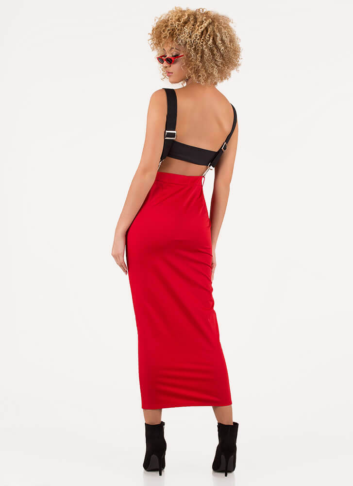 Zip It Good Suspender Maxi Skirt RED