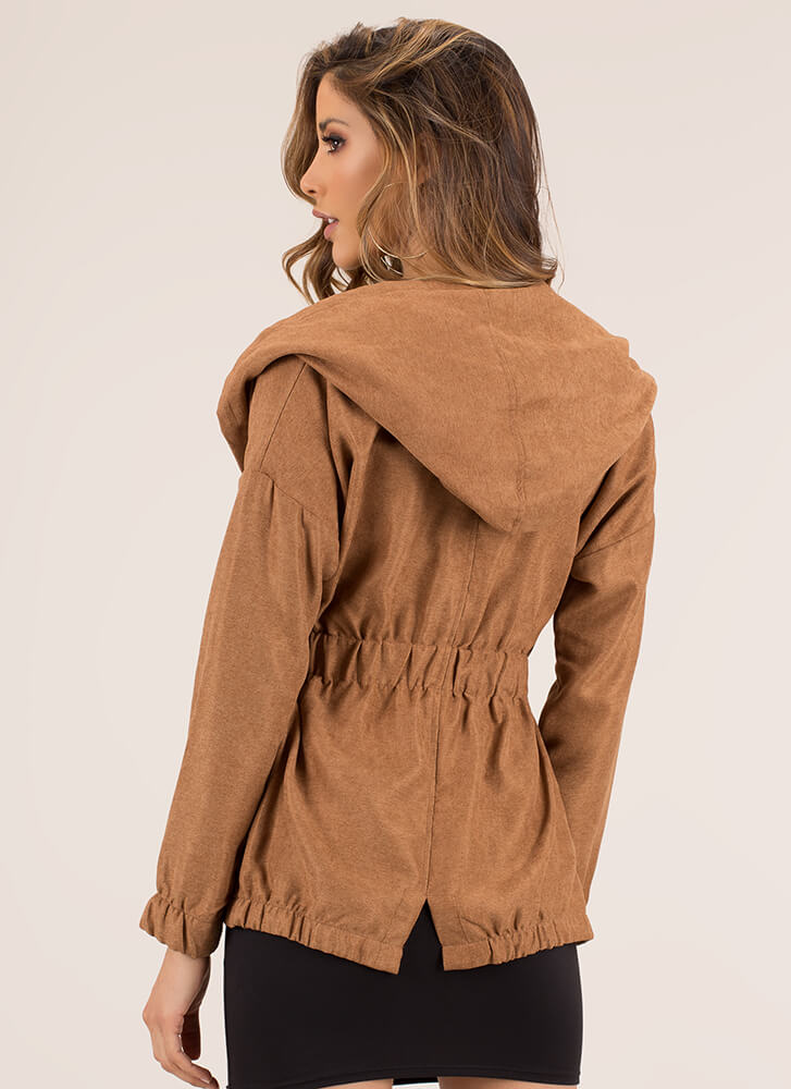 Get On My Hood Side Tied Jacket CAMEL