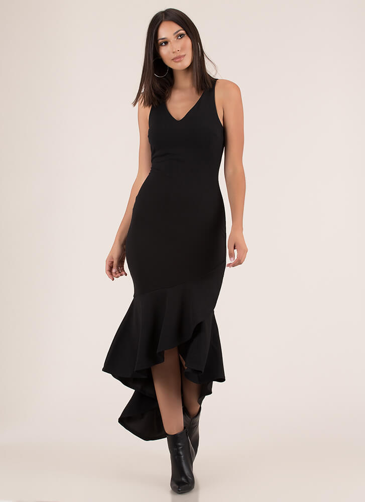 Affair To Remember High-Low Dress BLACK