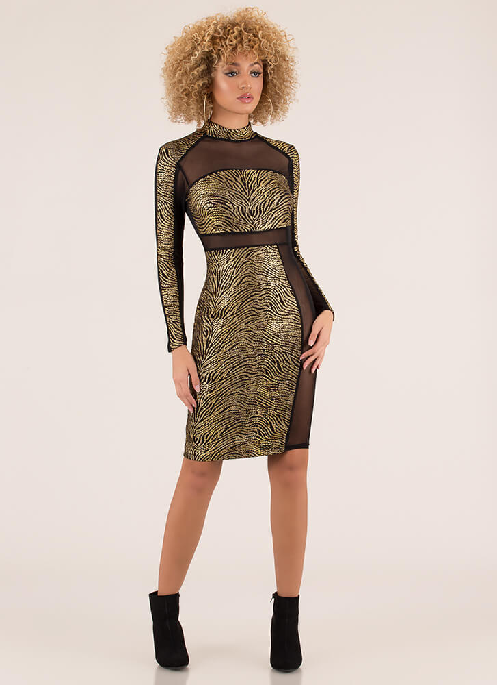 Make An Imprint Mesh Contrast Dress BLACKGOLD (Final Sale)
