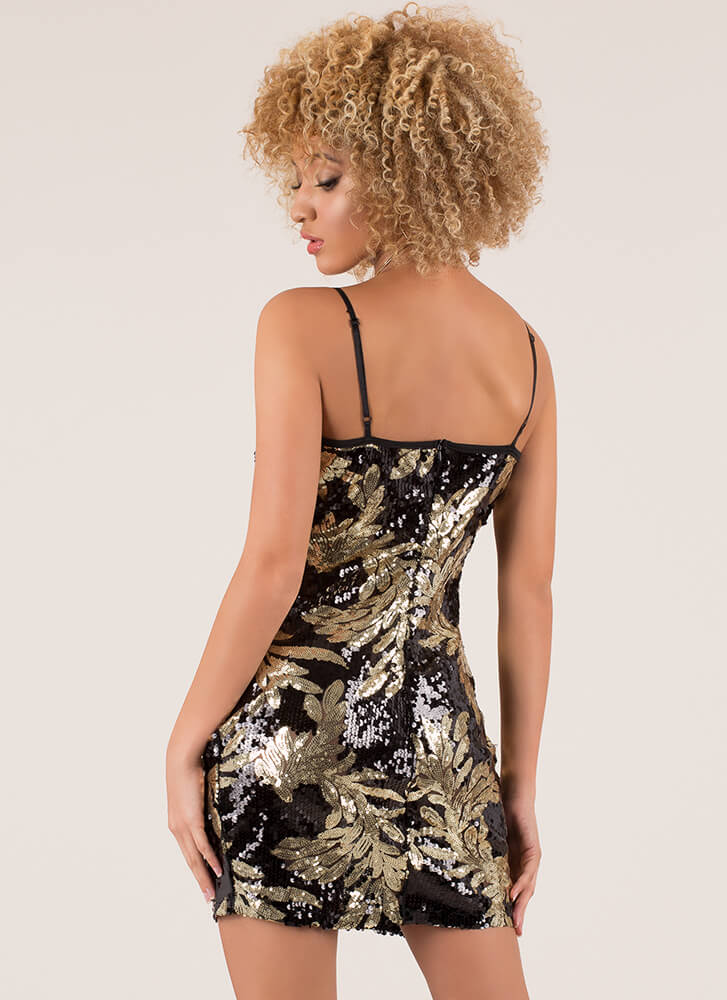 Turn Over A New Leaf Sequined Minidress BLACK