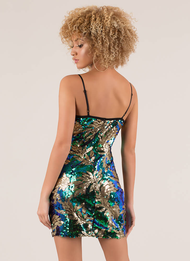 Turn Over A New Leaf Sequined Minidress GREEN