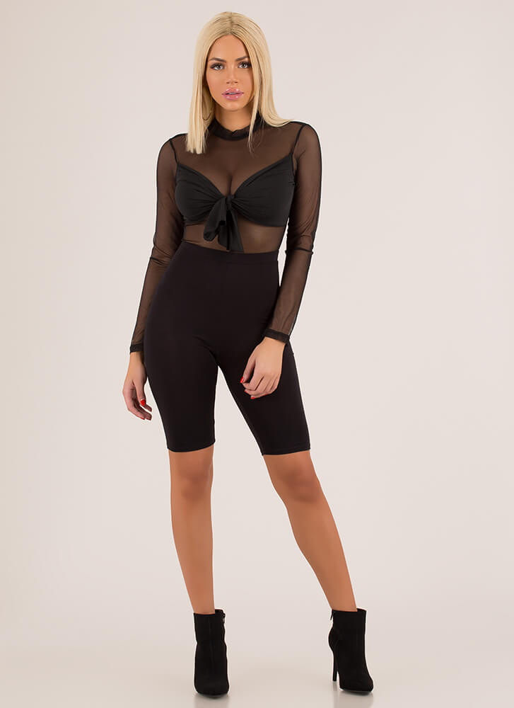 So Busted Knotted Mesh Bodysuit BLACK