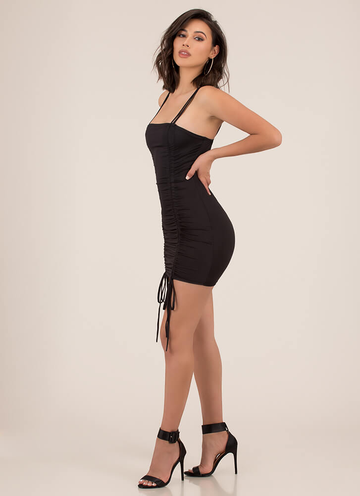 Shirr Thing Ruched Tied Minidress BLACK