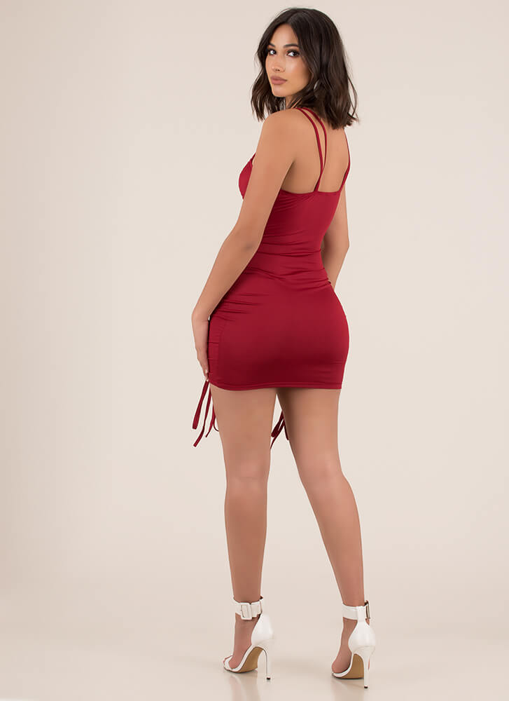 Shirr Thing Ruched Tied Minidress BURGUNDY