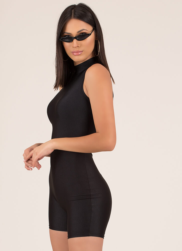 Body Work Nylon Leotard Romper BLACK