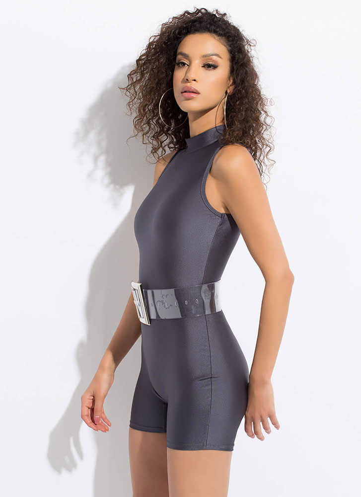 Body Work Nylon Leotard Romper CHARCOAL