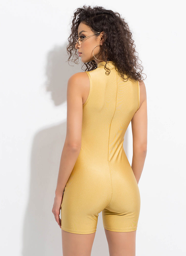 Body Work Nylon Leotard Romper GOLD