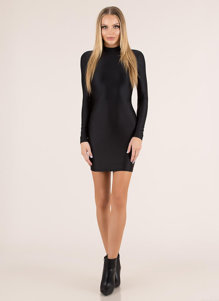 Back At It Cut-Out Nylon Minidress BLACK