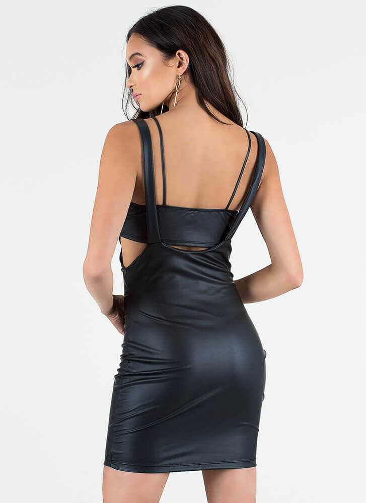 Knotty Knotty 2-Piece Faux Leather Dress BLACK