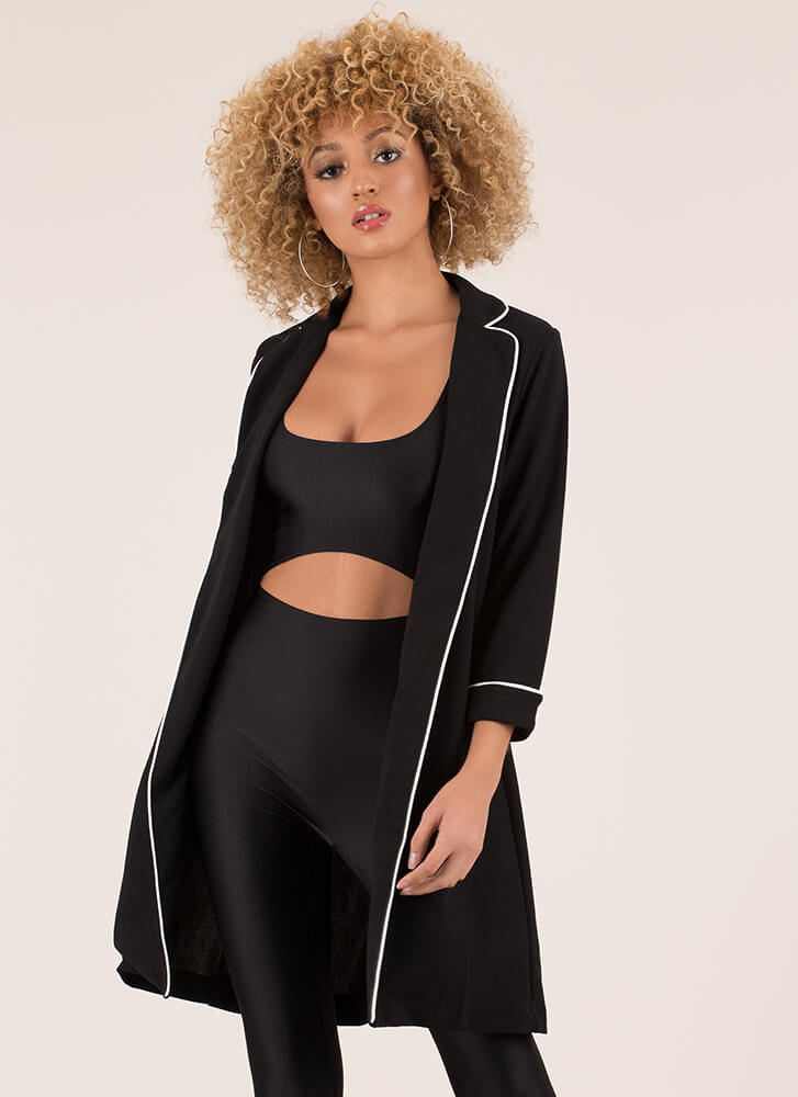 This Is My Strong Suit Blazer Duster BLACK