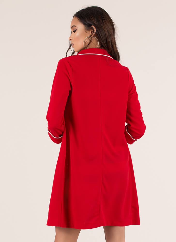 This Is My Strong Suit Blazer Duster RED