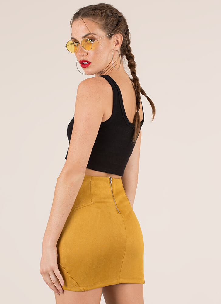 Have A Fit Faux Suede Miniskirt MUSTARD