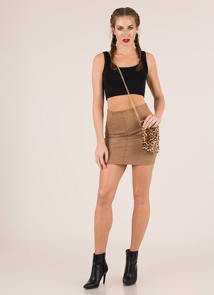 Have A Fit Faux Suede Miniskirt TAUPE