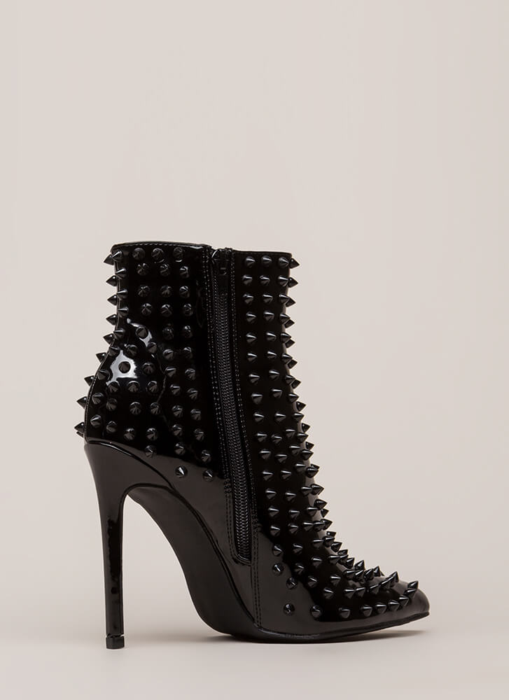 Spike It Rich Shiny Studded Booties BLACK