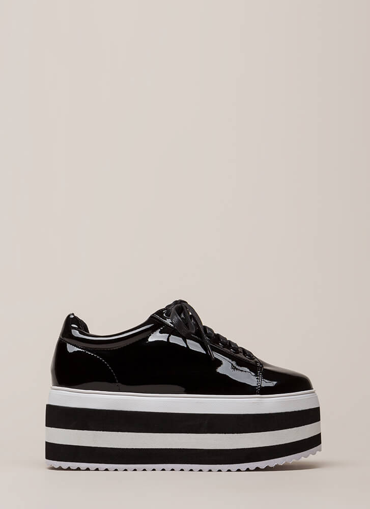 In The Heights Striped Platform Sneakers BLACK